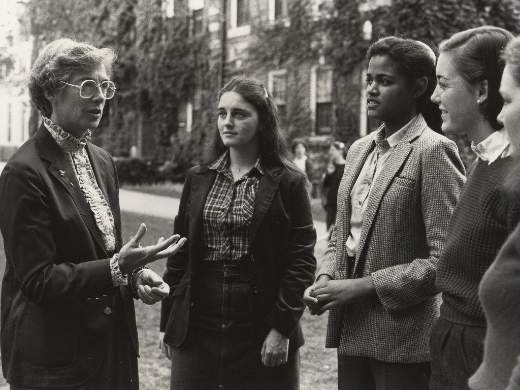 Alice F. Emerson speaking with students