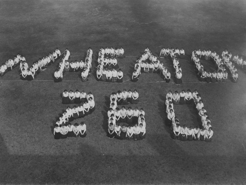 "Students Assembled to Spell Out ""Wheaton 260"""