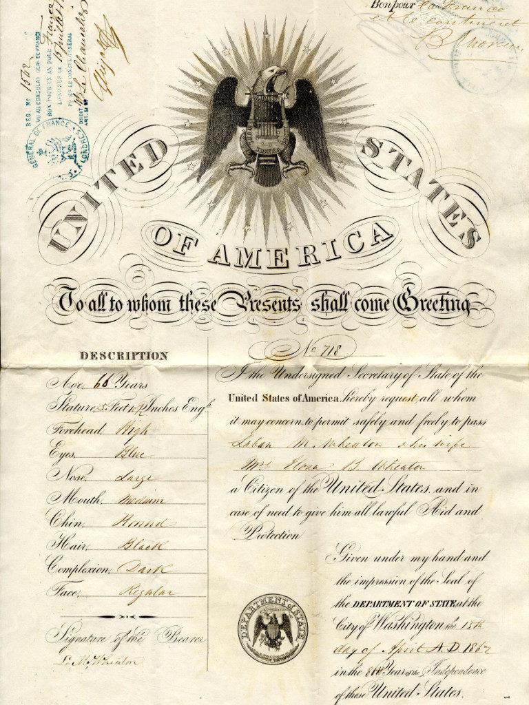 Laban Morey Wheaton's Passport