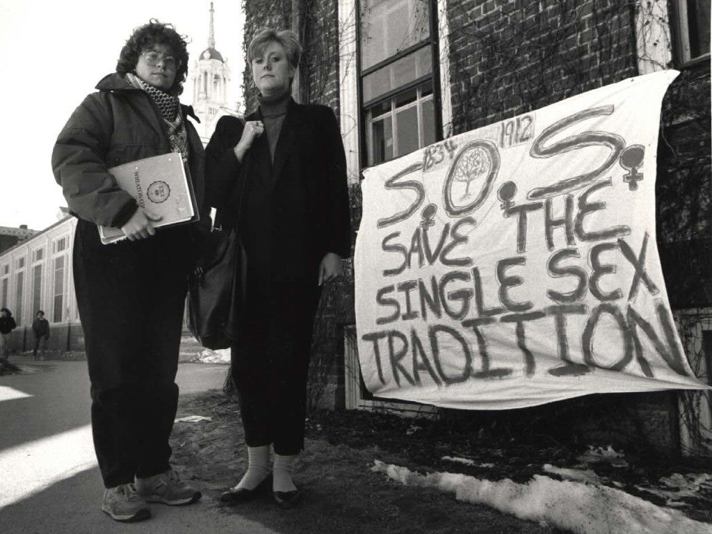 """Banner Reading, """"S.O.S. Save the Single Sex Tradition"""""""